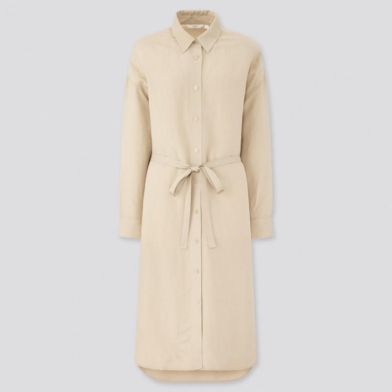 Платье-рубашка Uniqlo бежевое льняное