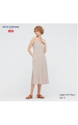 Платье на бретельках Uniqlo+Ines De La Fressange бежевое в горошек