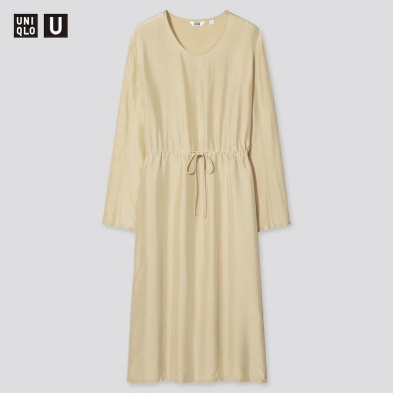 Легкое платье бежевое Uniqlo