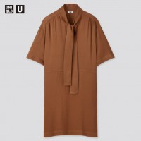 Струящееся коричневое платье Uniqlo