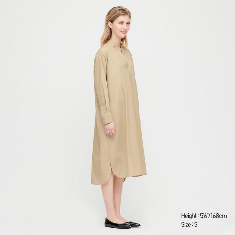 Платье бежевое миди Uniqlo