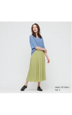Зеленая элегантная плиссированная юбка Uniqlo