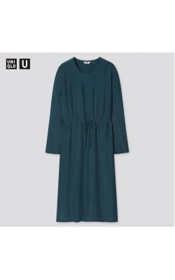 Платье Uniqlo легкое темно-зеленое