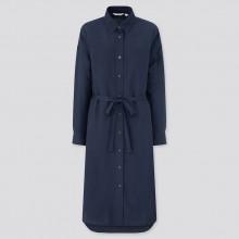 Платье-рубашка Uniqlo темно-синее льняное