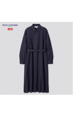 Платье-рубашка Uniqlo синее льняное