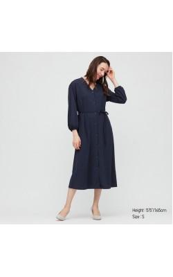 Платье синее Uniqlo на пуговицах