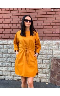 Горчичное объёмное платье Uniqlo U