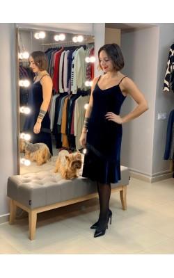 Темно-синее велюровое  платье Karl Lagerfeld