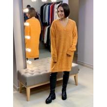 Оранжевое oversize платье  Uniqlo