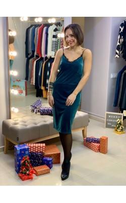 Зеленое велюровое платье Cynthia Steffe