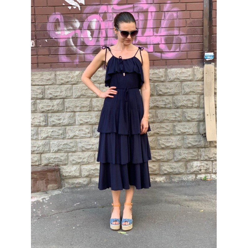 Платье Go Couture темно-синее с рюшами