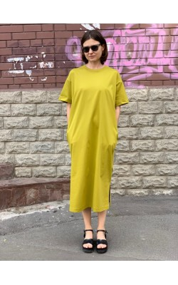 Платье Uniqlo горчичное миди