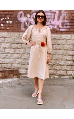 Платье Uniqlo+ JW Anderson бежевое льняное