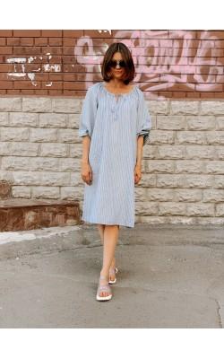 Платье Uniqlo+ JW Anderson голубое льняное