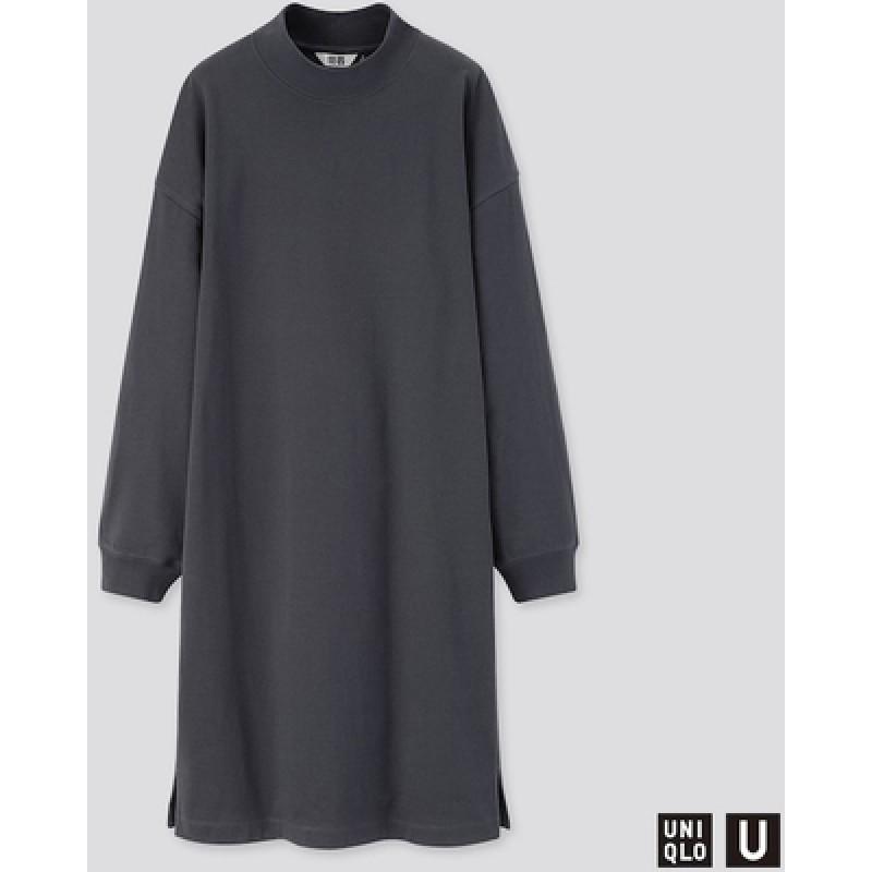 Темно-серое платье с длинными рукавами Uniqlo U