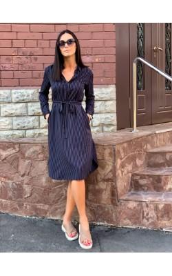 Платье-рубашка Uniqlo темно-синее в полоску