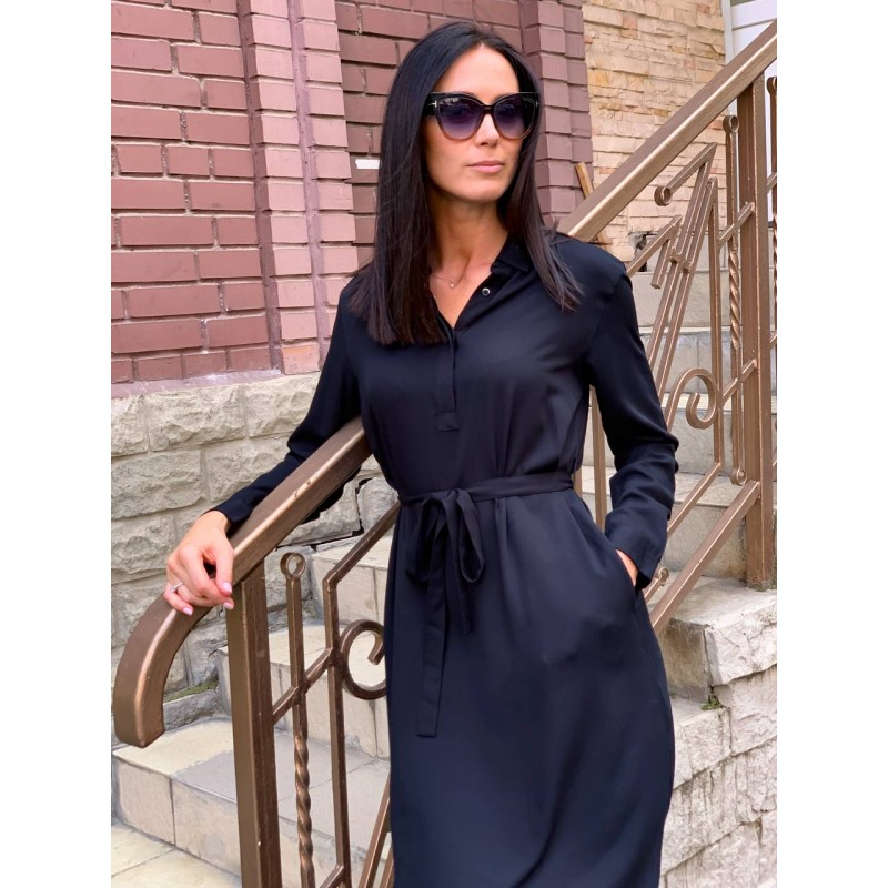 Платье-рубашка Uniqlo черное с поясом