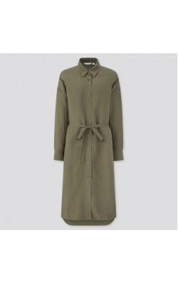 Платье-рубашка Uniqlo оливковое льняное