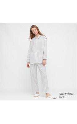 Пижама Uniqlo рубашка и штаны белая в полоску