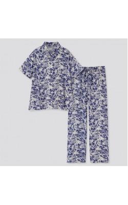 Пижама Uniqlo рубашка и штаны синяя
