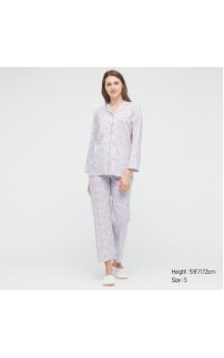 Пижама Uniqlo рубашка и штаны светло-фиолетовые