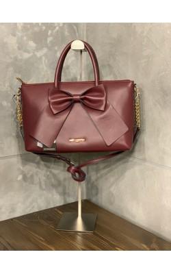 "Бордовая сумка ""KRIS"" Karl Lagerfeld с бантом"