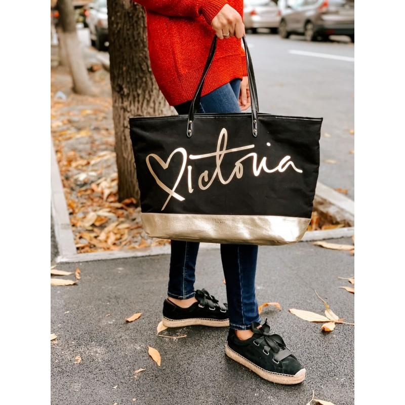 Черно-золотая сумка уикендер Victoria's Secret