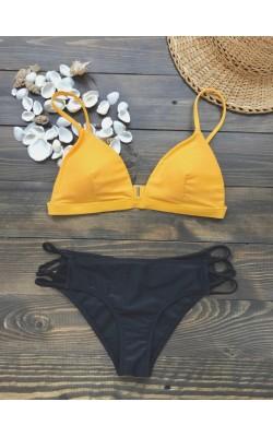 Желто-черный купальник Hollister