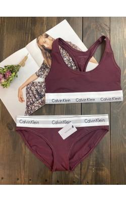Комплект нижнего белья Calvin Klein бордовый (бикини)