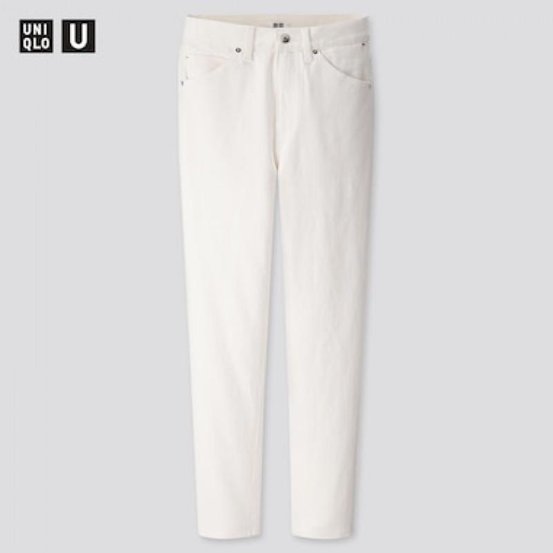 Белые зауженные джинсы с высокой талией Uniqlo