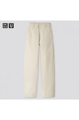 Широкие светло-зеленые брюки Uniqlo