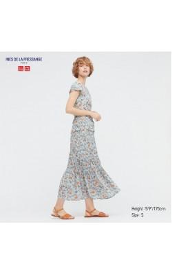 Юбка Uniqlo+Ines De La Fressange голубая в цветы