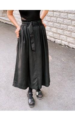 Юбка Uniqlo черная льняная