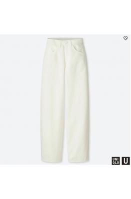 Широкие белые джинсы с высокой посадкой Uniqlo