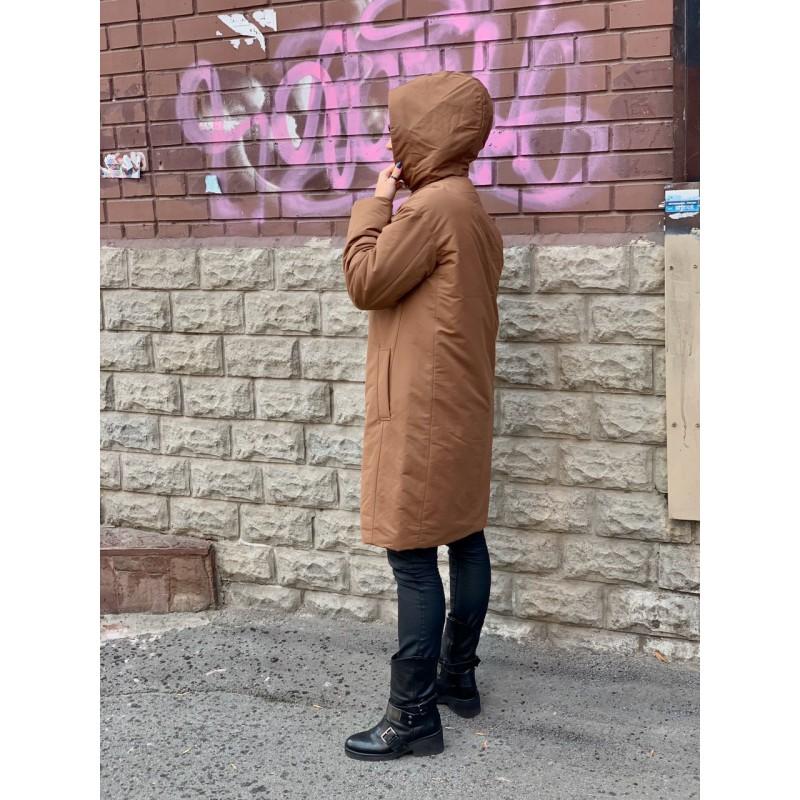 Коричневое пальто-кокон Uniqlo