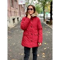 Красное ультратеплое короткое пальто Hybrid Ultra Warm Down Uniqlo