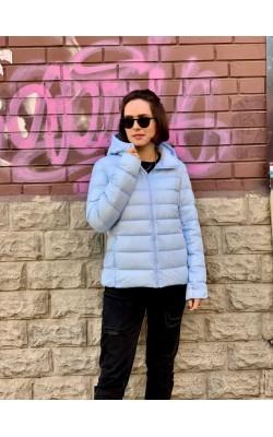 Куртка Uniqlo голубая с капюшоном ультралегкая на пуху