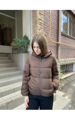Куртка кокон от Uniqlo темно-коричневая на пуху ультралегкая