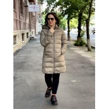 Пальто с капюшоном Uniqlo бежевое ультралегкое