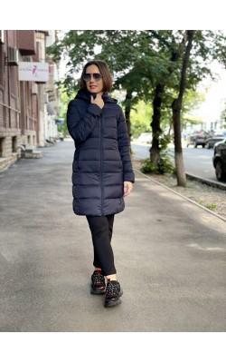 Пальто с капюшоном Uniqlo темно-синее ультралегкое