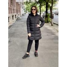 Пальто с капюшоном Uniqlo черное ультралегкое