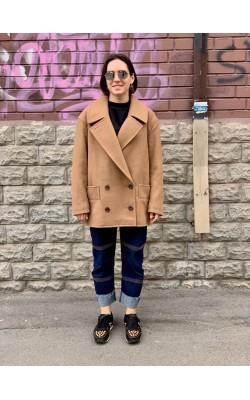 Коричневое шерстяное пальто Uniqlo