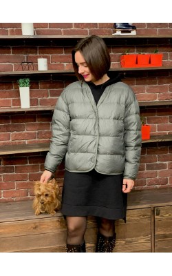 Куртка Uniqlo оливковая oversized на пуху