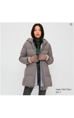 Серое пальто Uniqlo бесшовное с капюшоном
